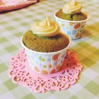 Matcha Cupcake With White Chocolate Ganache